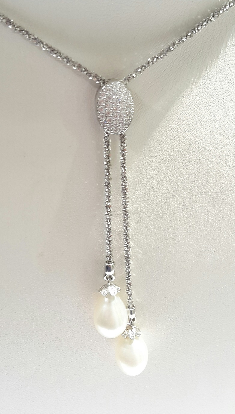 COLLANA SALISCENDI IN ARGENTO CON ZIRCONI E PERLE COLTIVATE REF COLL080