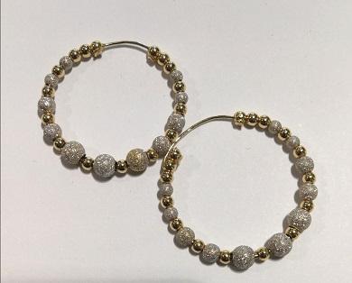 Orecchini anelle in oro 18 carati oro giallo e bianco del diametro esterno  di cm 3,4