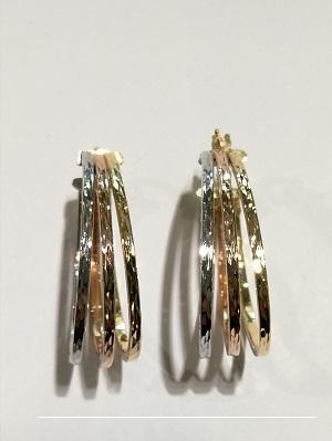 Orecchini anelle ovali oro 18 carati composte da 3 ovali nei 3 diversi colori dell''oro di cm 3,2 altezza esterna