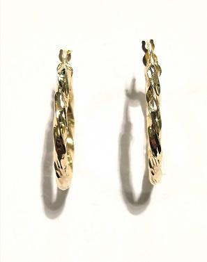 Orecchini anelle in oro giallo 18 carati diamantate del diametro esterno di cm 2,65 e spessore mm 2,55